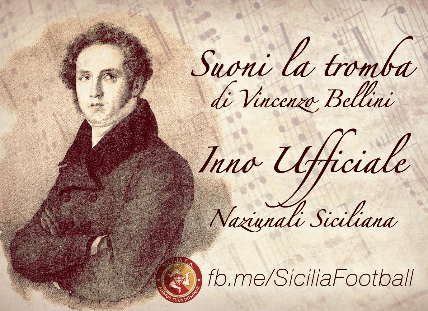 """Nazionale Siciliana: """"Suoni la tromba"""" di Bellini é l'inno ufficiale"""